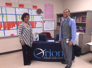 Business Development Representative DeMia Mays and Branch Manager Joseph Peters visited the school to serve the financial needs of teachers too!