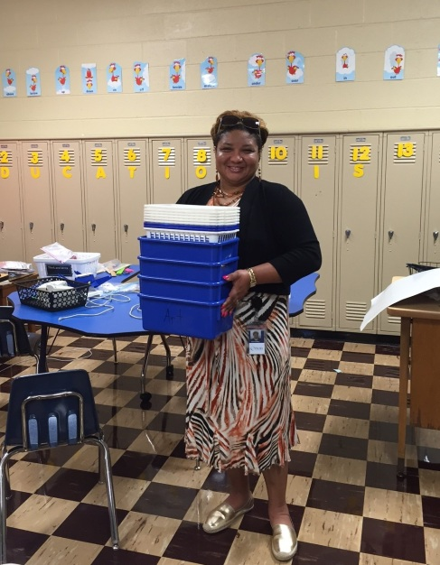 Gwen Golliday helping prepare classrooms for the first day of school.