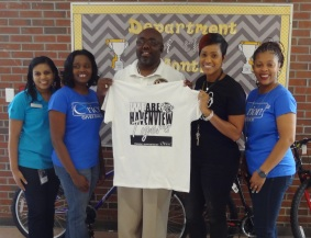 Robin Parson, Whitehaven Branch Manager (far left); Trevia Chatman, BDO (2nd left); Jason Bolden, Havenview (center); Crystal Roach, SCS Adopt-A-School Coordinator (2nd right); DeMia Mays, Orion BDR (far right)