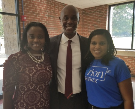 SCS Superintendent Dorsey Hobson, with Trevia Chatman, Orion BDO (left) and Robin Parsons, Orion Branch Manager (right)